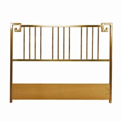 Mastercraft Brass Queen Headboard Hollywood Regency Greek Key Bed