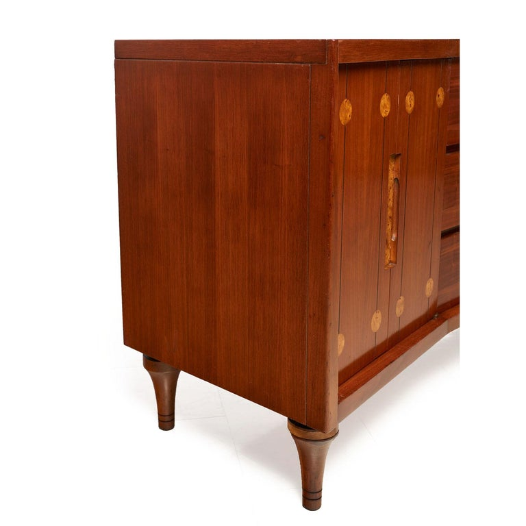 20th Century Burl Inlay Walnut Dresser Credenza by Daniel Jones Inc. For Sale