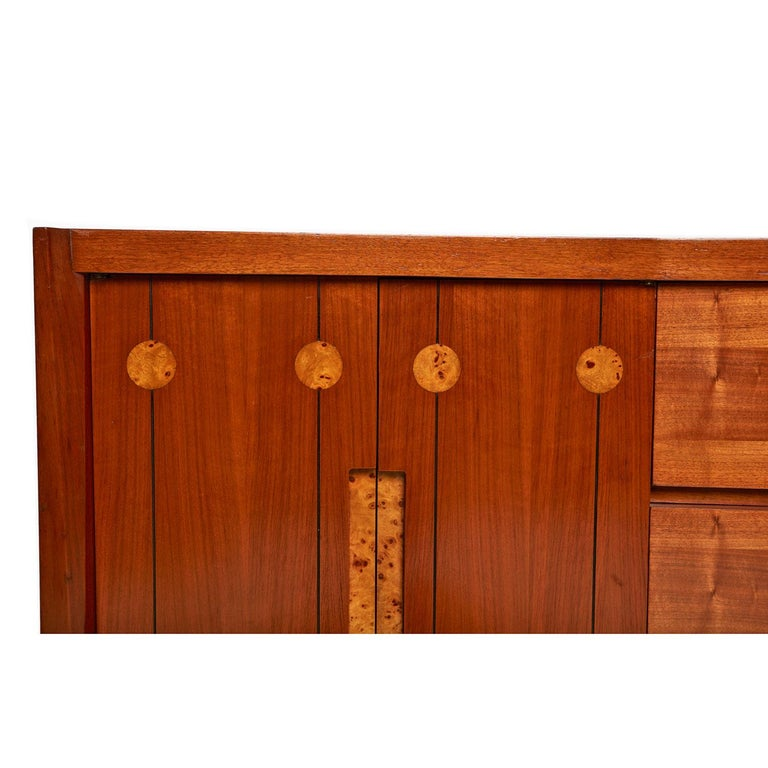 American Burl Inlay Walnut Dresser Credenza by Daniel Jones Inc. For Sale