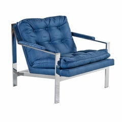 Restored Royal Blue Mid-Century Modern Milo Baughman Style Flat Bar Lounge Chair