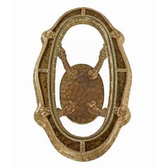Hollywood Regency Capiz Shell Gilt Brass Italian Florentine Style Coffee Table