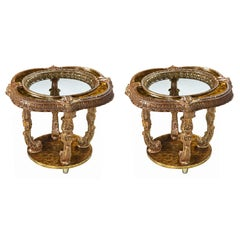 Hollywood Regency Capiz Shell Gilt Metal Italian Florentine Style End Tables