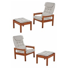 Domino Mobler Solid Teak Danish Modern Lounge Chairs and Ottomans New Upholstery