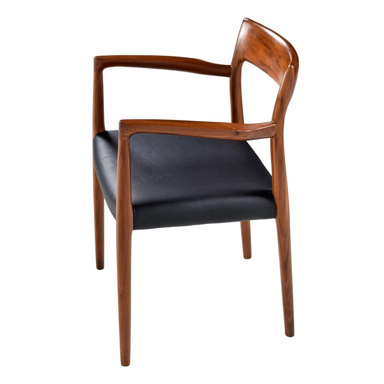 Scandinavian Modern Niels Moller Walnut Armchair #57 Black Leather - Made in Denmark For Sale