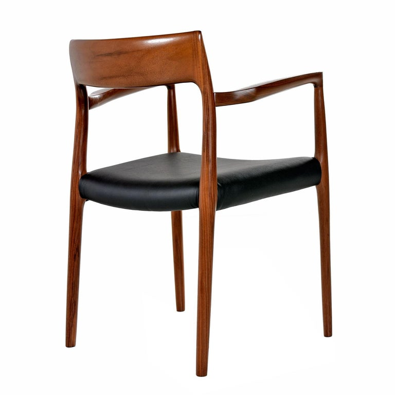 Danish Niels Moller Walnut Armchair #57 Black Leather - Made in Denmark For Sale