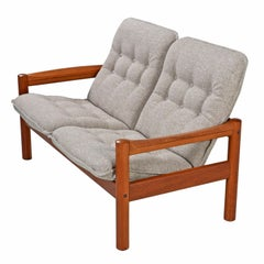 Solid Teak Danish 2-Seat Sofa Couch by Domino Mobler