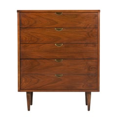 Mid-Century Modern Brass and Walnut Highboy Dresser Chest of Drawers by Bassett