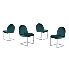 1970s Forest Green Velvet Milo Baughman Style  Cantilever Chrome Dining Chairs