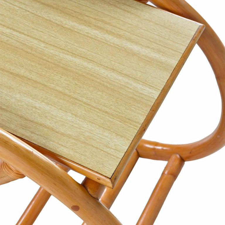 American Paul Frankl Style 3/4 Round Pretzel Rattan Side Table Set with Formica Tops For Sale