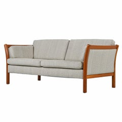 Stouby Sofa Settee, Danish Modern Sofa with Teak Frame