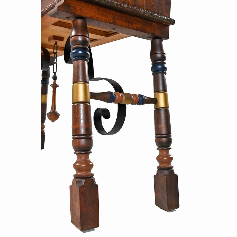 Gothic Revival Style Dragon Motif Brass and Leather Mahogany Oak Dining Set For Sale 3