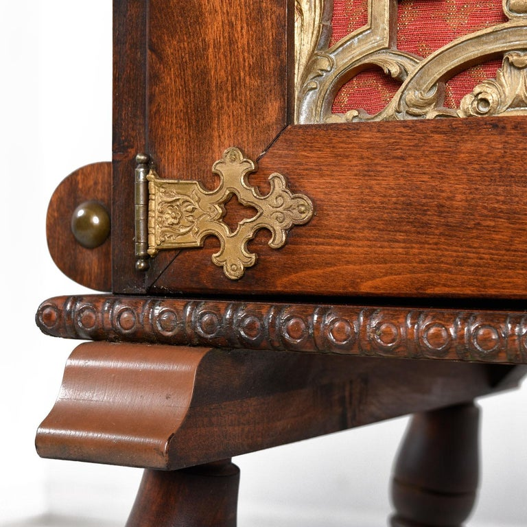 Gothic Revival Style Dragon Motif Brass and Leather Mahogany Oak Dining Set For Sale 4