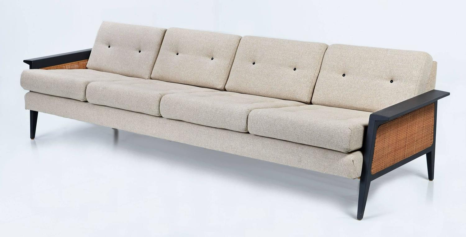 Restored long caned mid century modern sofa for sale at for Long couches for sale
