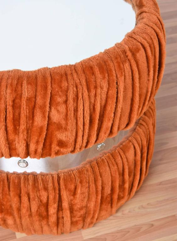 Late 20th Century Faux Fur Orange and Chrome Mirrored Coffee and End Tables Set, 1970's For Sale