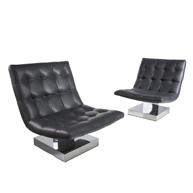 Milo Baughman For Thayer Coggin Leather Scoop Chrome Pedestal Base Lounge Chairs