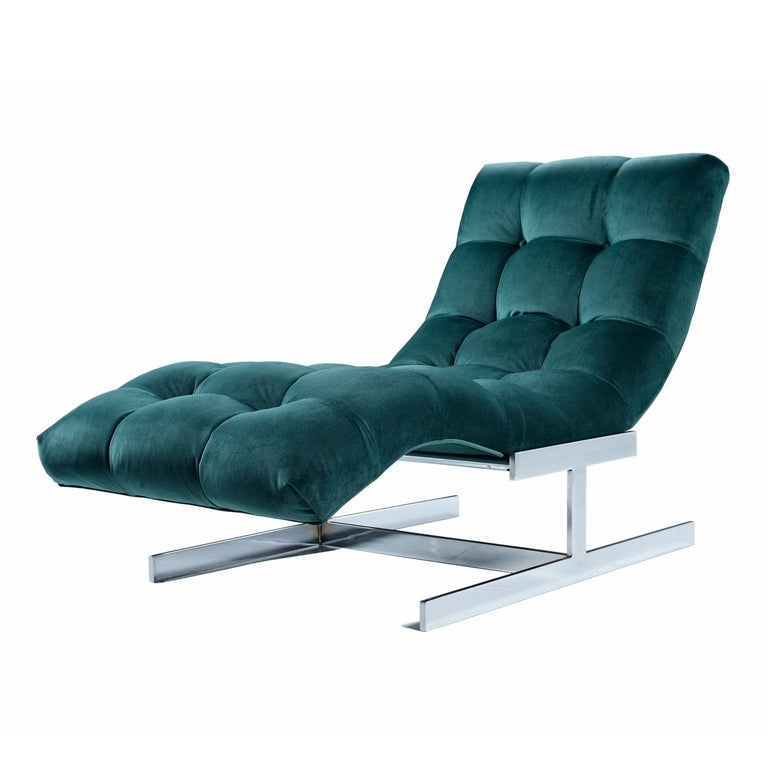 Milo Baughman Style Wave Chaise Lounge by Carsons, New Forest Green Velvet