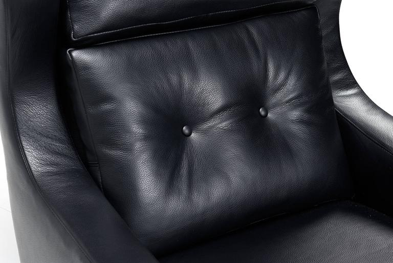 Svend Skipper Style Black Leather Wingback and Low Back Lounge Chairs For Sale 1