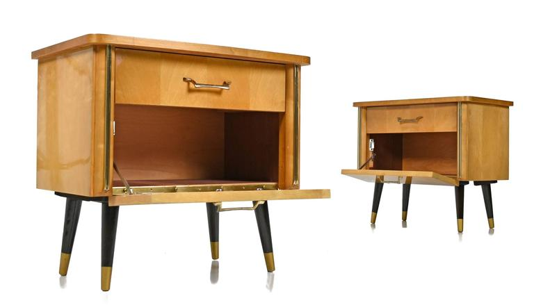 german rockabilly style birch wood petit nightstands, 1950's mid Funky Modern Nightstands