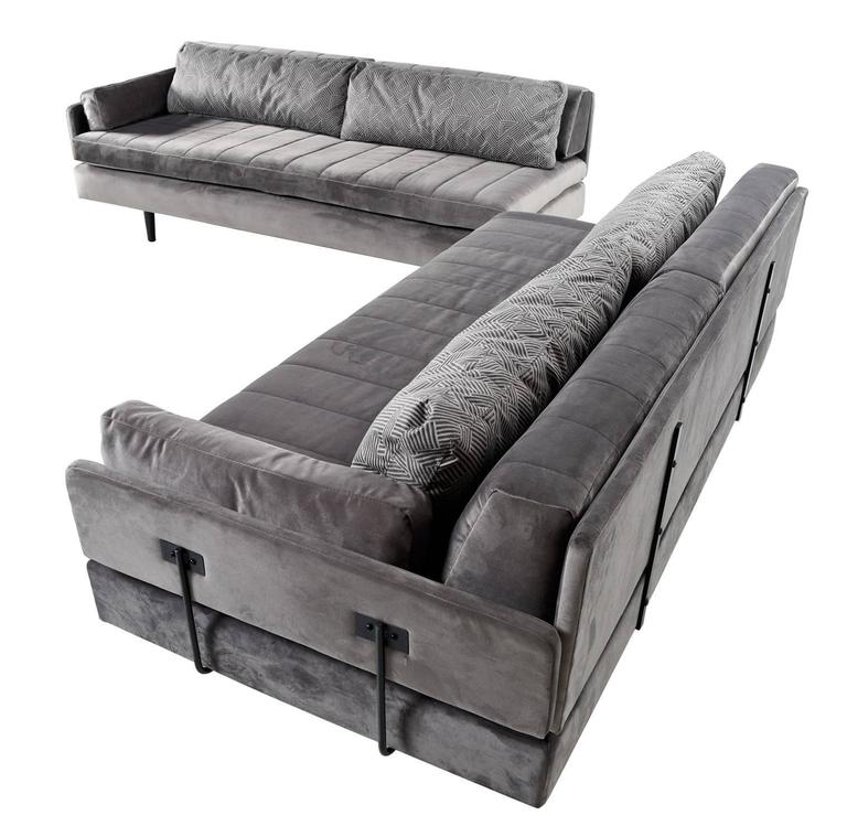 Custom Made Modular Grey Velvet Daybed Sofa Set For Sale