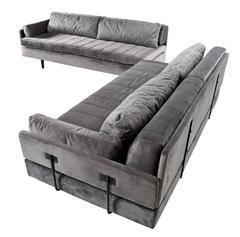 Custom Made Modular Grey Velvet Daybed Sofa Set