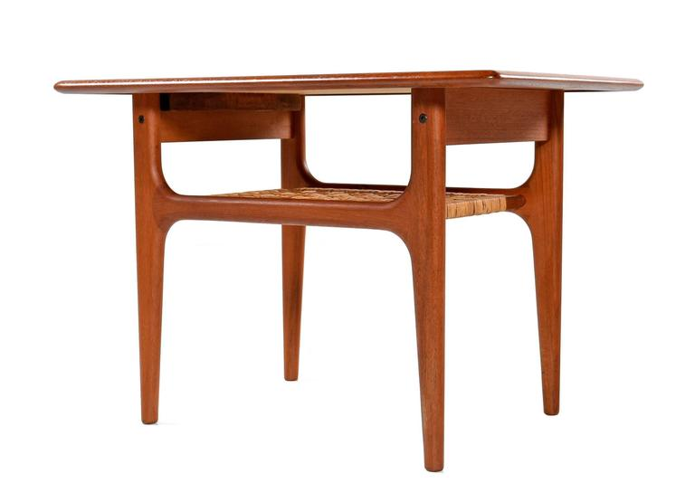 Refinished Mid Century Modern Danish Teak End Table By Trioh Møbler Two Tier
