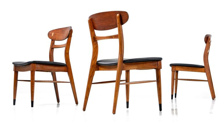 Set of 8 Lane Acclaim Curved Back Black Vinyl Dining Chairs at 1stdibs