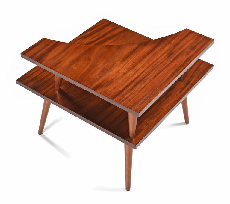 Restored Solid Mahogany Two Tier Danish Modern Corner Table S - Mid century modern corner table