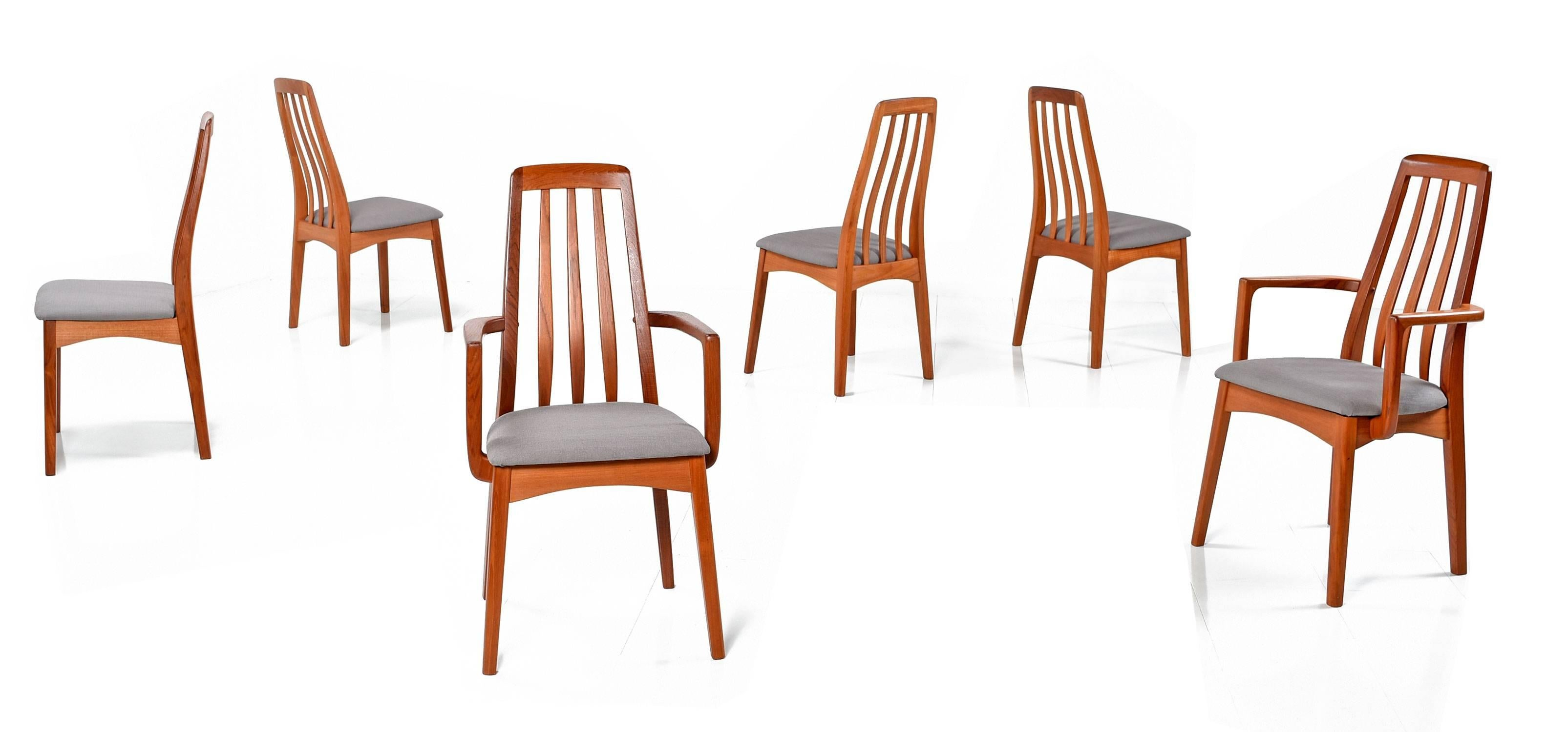 Set Of Six Pre Owned Danish Modern Style Benny Linden Teak Dining Chairs  With New