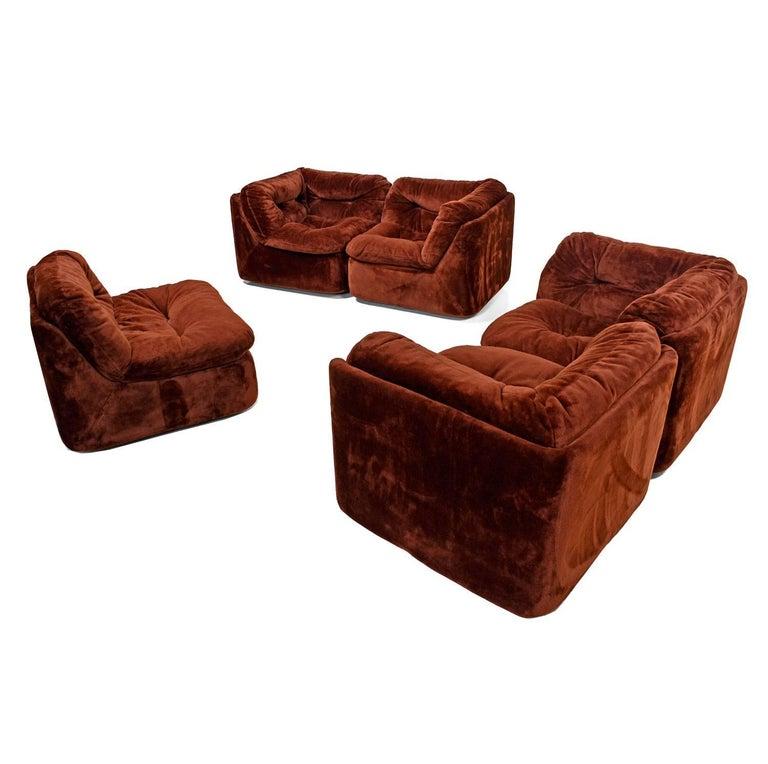 Faux Fur Milo Baughman Style Five Piece Group Modular Sofa
