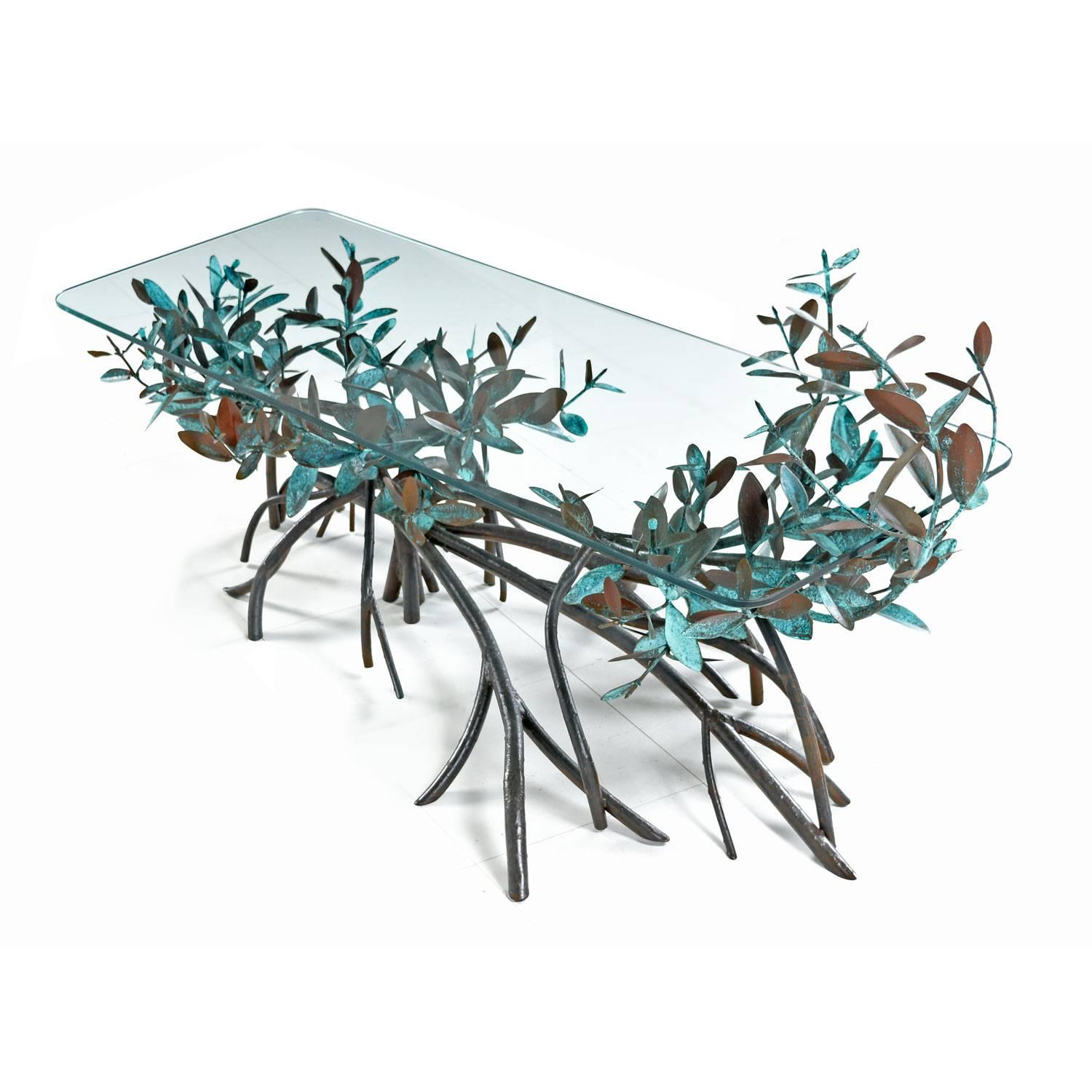 Midcentury Silas Seandel Style Metal Mangrove Tree Leaf Glass Top Coffee  Table At 1stdibs