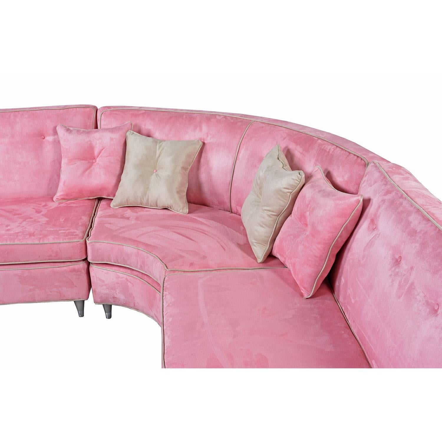 Hollywood Regency Mid Century Modern Pink Microsuede Sectional Sofa, Circa  1960s For Sale