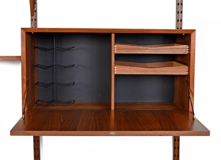 Scandinavian Modern Mid Century Poul Cadovius Style Modular Walnut Wall Unit Bookshelf For Sale