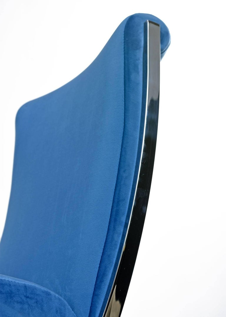 Mid-Century Modern Blue Velvet Pierre Cardin Chrome Dining Chairs, circa 1970s For Sale