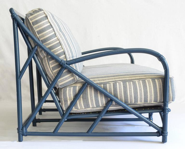 Graphic Rattan Frame Newly Painted A Deep Marine Blue And Freshly Upholstered In Peter