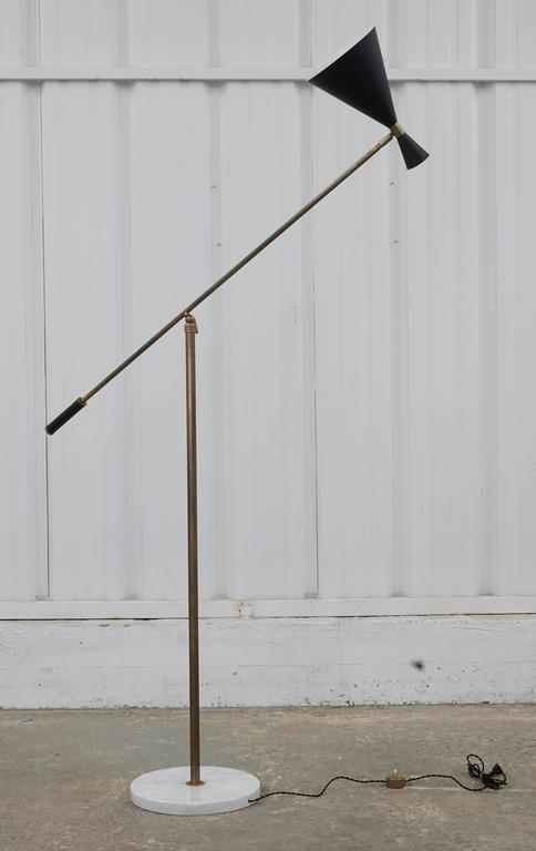 Vintage Italian Floor Lamp With Metal Shade And Marble