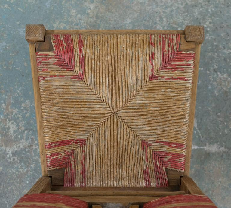Set of Four Natural and Red Rush Side Chairs For Sale 2