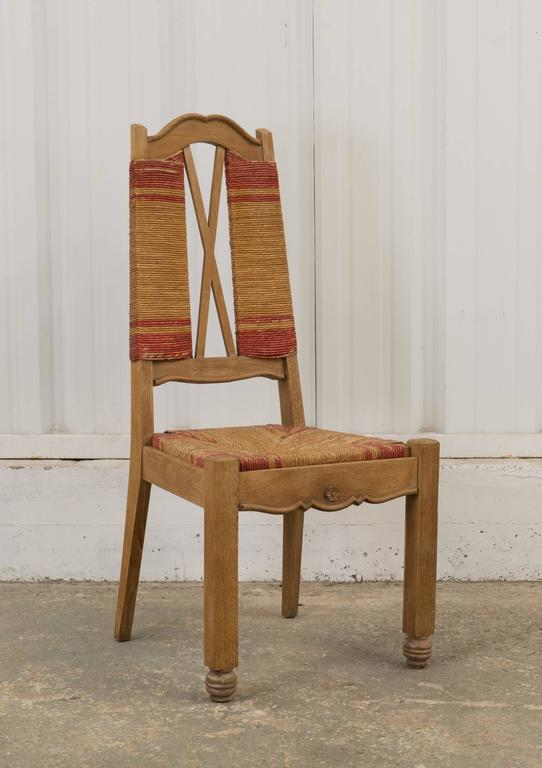 Set of Four Natural and Red Rush Side Chairs In Good Condition For Sale In Los Angeles, CA