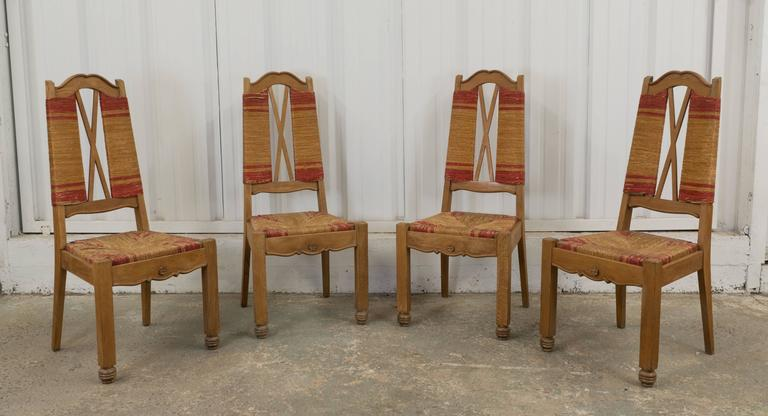 Set of Four Natural and Red Rush Side Chairs For Sale 5