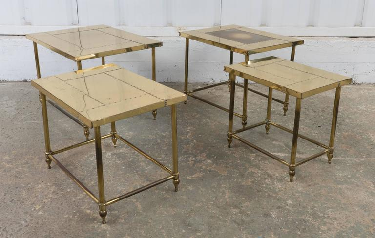 French Pair of Brass Nesting Tables For Sale