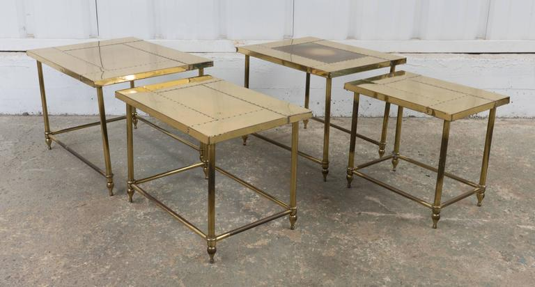 Pair of Brass Nesting Tables In Excellent Condition For Sale In Los Angeles, CA