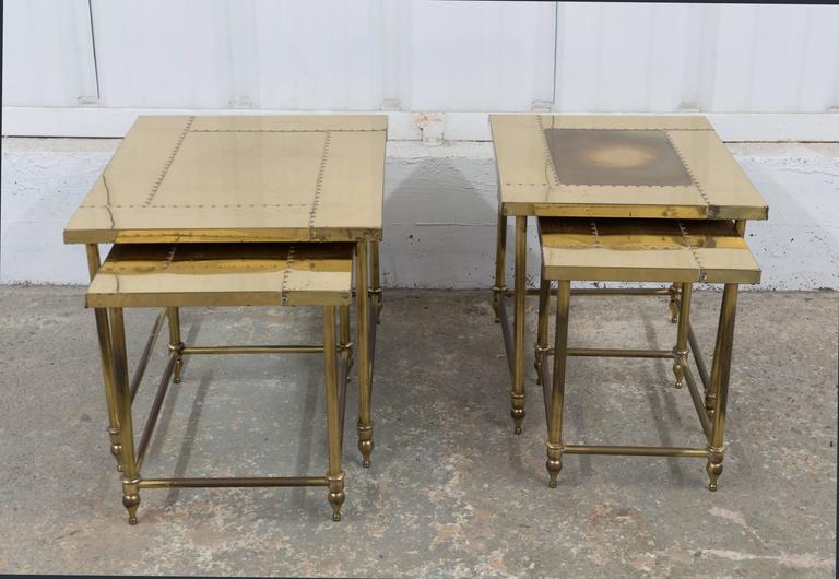 Mid-20th Century Pair of Brass Nesting Tables For Sale