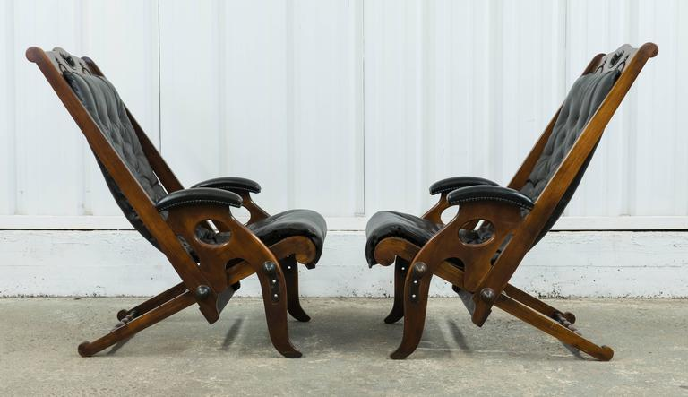 French Pair Of Vintage Jean Pierre Hagnauer Adjustable Yacht Chairs For Sale