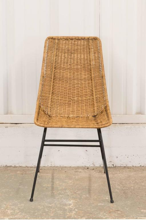 Two Vintage Wicker And Metal Dining Chairs 2