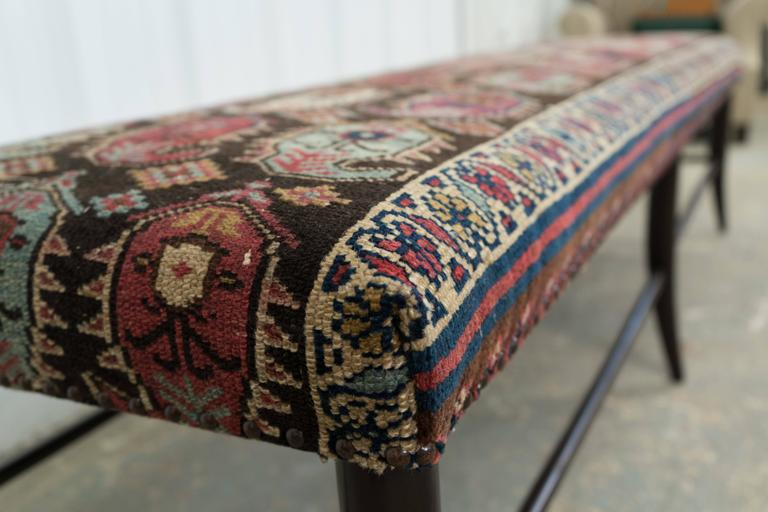 Bench With Vintage Rug Upholstery At 1stdibs
