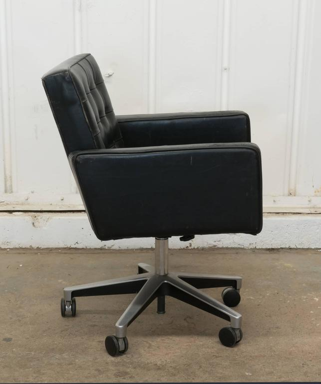 leather swivel office chair. vintage vincent cafiero for knoll black leather swivel desk armchair 3 office chair