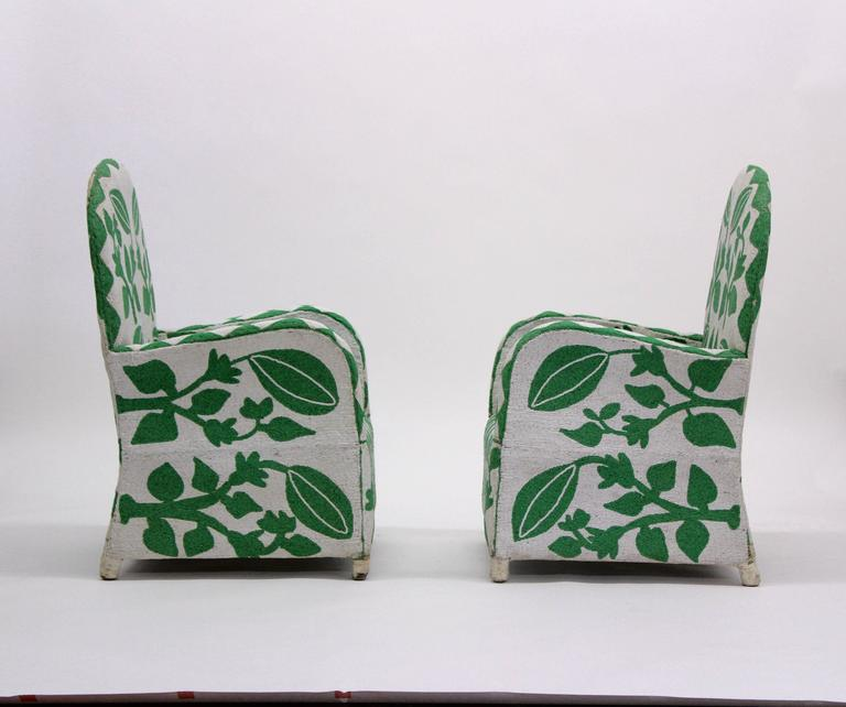 Pair of Vintage African Beaded Chairs In Good Condition For Sale In Los Angeles, CA