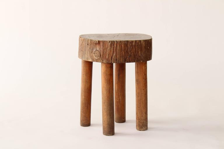 Vintage French Wood Stump Stool At 1stdibs