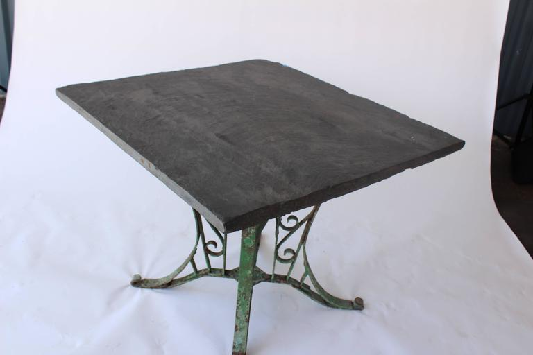 1920s French Slate Table with Painted Green Base In Excellent Condition For Sale In Los Angeles, CA