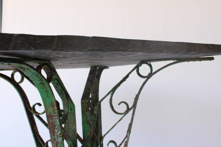 Early 20th Century 1920s French Slate Table with Painted Green Base For Sale