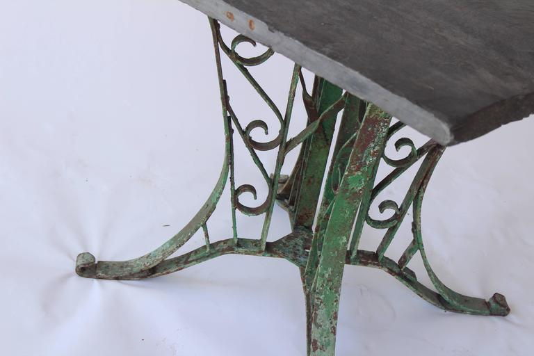 1920s French Slate Table with Painted Green Base For Sale 2